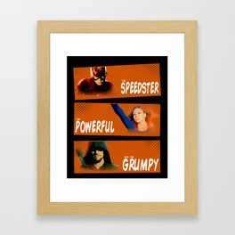 The Speedster, the Powerful, and the Grumpy Framed Art Print