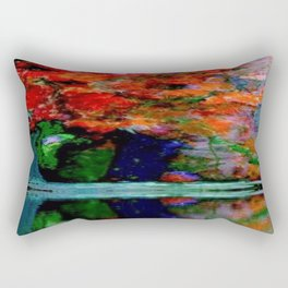SURREAL RED POPPIES GREEN VASE REFLECTIONS Rectangular Pillow