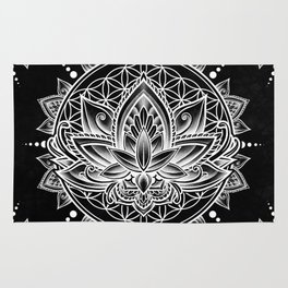 Lotus Mandala - Black Rug