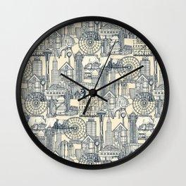 Seattle indigo cream Wall Clock