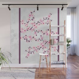 Cherry Blossoms Pink Gray Asiastyle Wall Mural