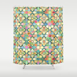 Gilded Moroccan Mosaic Tiles Shower Curtain