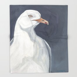 Herring Gull Portrait Bird Beach Throw Blanket
