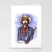 tom selleck Stationery Cards featuring Quigley Down Under, Tom Selleck Drawing by Douglas Mooney