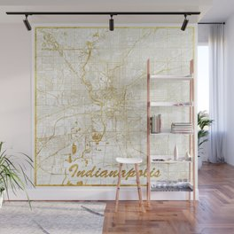 Indianapolis Map Gold Wall Mural