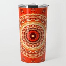 Vintage Orange Mandala Design Travel Mug