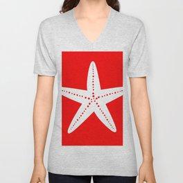 Starfish (White & Red) Unisex V-Neck