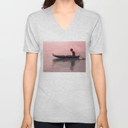 Man in his outrigger wa'a, Pink Sunset Hanauma Hawaiian landscape painting by D. Howard Hitchcock Unisex V-Neck