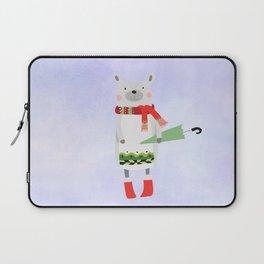 Cute Bear in Winter Wear Holding Umbrella Laptop Sleeve