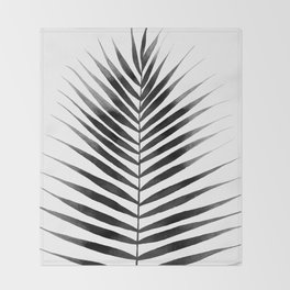 Palm Leaf Watercolor | Black and White Throw Blanket