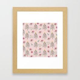 Christmas Pattern Pink Framed Art Print