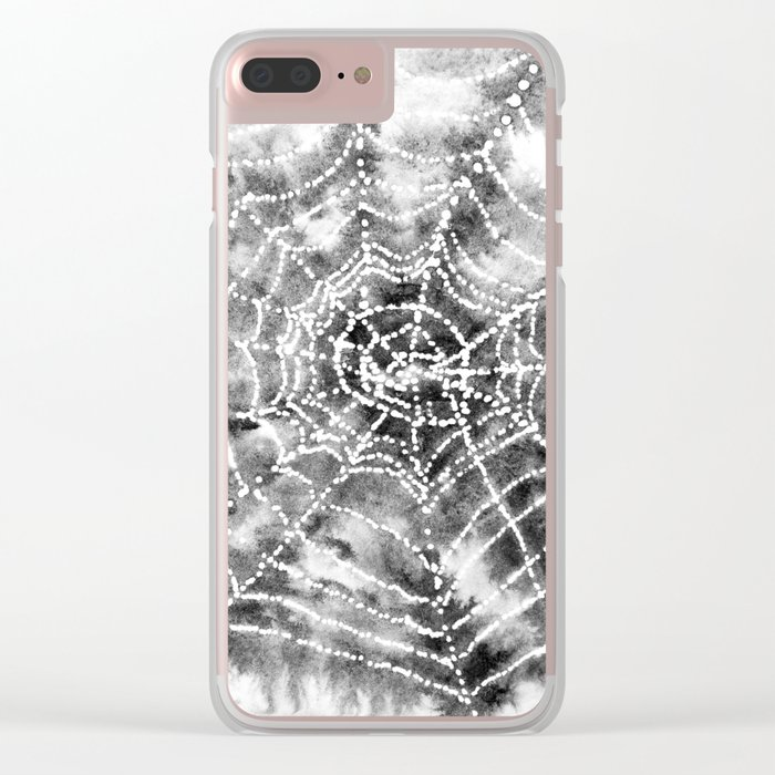 Watercolor Spider Web Halloween Art Clear iPhone Case