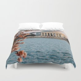 Cherry Blossoms at the Jefferson Duvet Cover