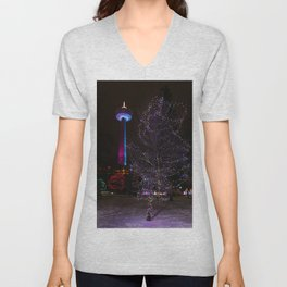 Skylon Tower with Christmas Lights Unisex V-Neck