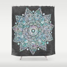 Mermaid Mandala on Deep Gray Shower Curtain