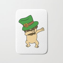 Dabbing St Patrick_s Day Pug Dog Leprechaun Bath Mat