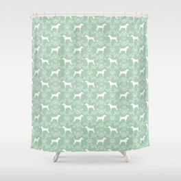 Jack Russell Terrier floral silhouette dog breed pet pattern silhouettes dog gifts mint Shower Curtain
