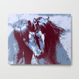 Two Piebald Blue Horses Metal Print