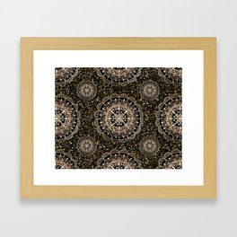 Rose Gold Mandalas with Brown and Copper Sparkles Framed Art Print