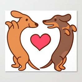 Cute cartoon dachshunds in love Canvas Print