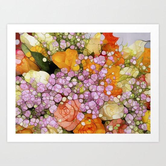 Mosaic Vintage-  Floral Spring Sparkles Art Print
