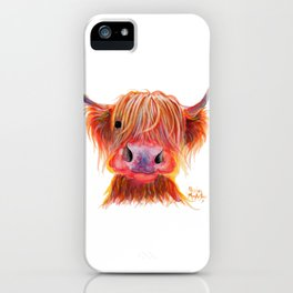 Scottish Highland Cow ' CHILLI CHOPS ' by Shirley MacArthur iPhone Case