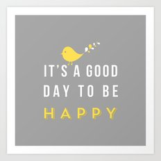 Happy Poster - grey Art Print