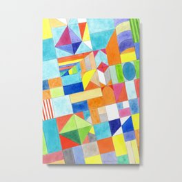 Playful Colorful Architectural Pattern Metal Print