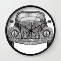 volkswagon Wall Clocks featuring Tangled VW Bug by Cherry Creative Designs