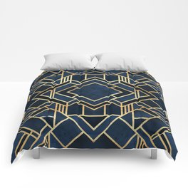Art Deco Fancy Blue Comforters