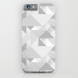 Modern abstract glacier gray white geometrical pattern iPhone Case