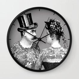 Tattooed Victorian Lovers Wall Clock