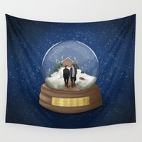 globe Wall Tapestries featuring snow globe by wreckthisjessy