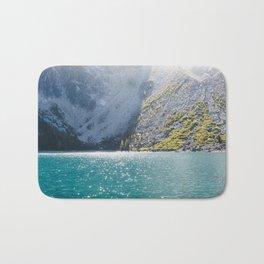 Sparkling Blue Water Alpine Lake Bath Mat