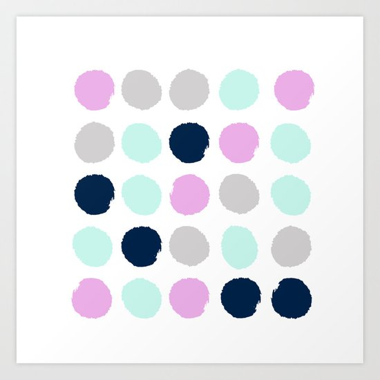 Minimal painted dots pattern bright happy gender neutral colors Art Print