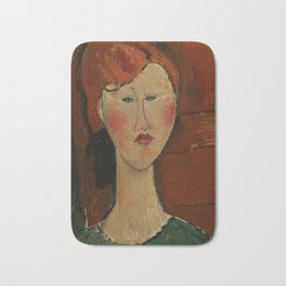 """Amedeo Modigliani """"Femme aux cheveux rouge (Woman with Red Hair)"""" Bath Mat"""