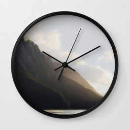 golden hour at milford sound Wall Clock
