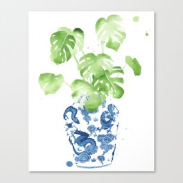 Ginger Jar + Monstera Canvas Print