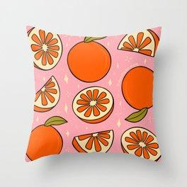 Orange Print Throw Pillow