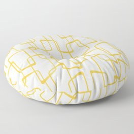 Reverse Yellow Retro Geometric Pattern Floor Pillow