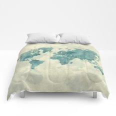 World Map Blue Vintage Comforters