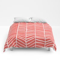 Comforters featuring Coral Herringbone by Cat Coquillette