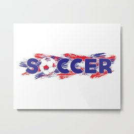Soccer Red, White and Blue Metal Print