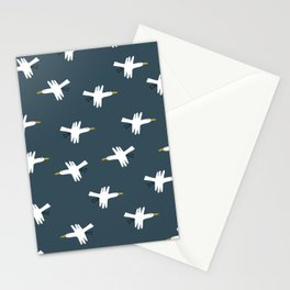 Cute minimalistic pattern with spring migratory birds - geese in  scandinavian style on the blue background Stationery Cards