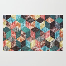 Colorful Isometric Cubes VIII Rug