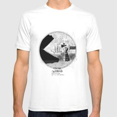 Sea monsters eat all travelers MEDIUM White Mens Fitted Tee