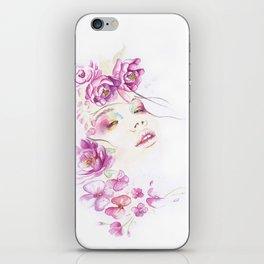 Girl with Flower Crown Watercolor lavender pink peonies iPhone Skin