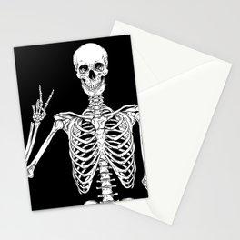 Human skeleton posing isolated over black background vector illustration Stationery Cards