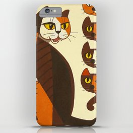 Inagaki Tomoo Vintage Japanese Woodblock print mid century Modern Cubism Art Cats Feline iPhone Case