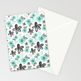 Mint and black flowers Stationery Cards
